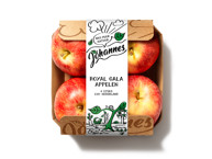 Carton tray packaged 4 red apples